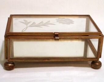 Vintage Glass and Brass Trinket Box