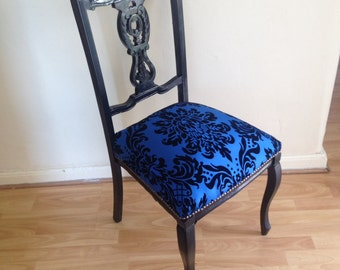 Black dressing chair, Queen Anne style  with traditional upholstery
