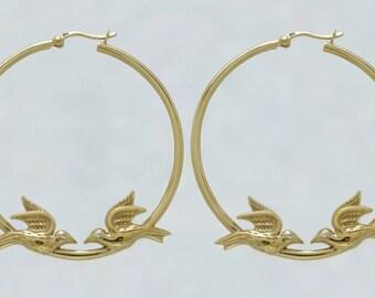 Flying Bird Earrings w/ Crystal Eyes