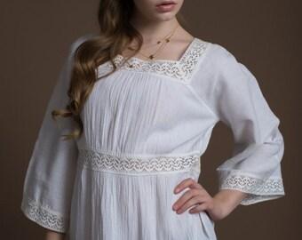 Square Neckline Blouse, Lace Tunik, 100 % Cotton