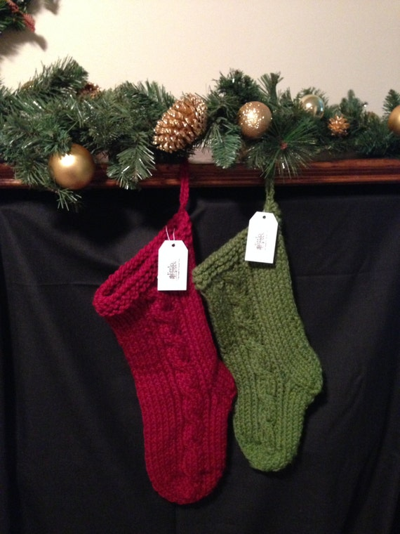 Chunky Cable Knit Christmas Stocking Large
