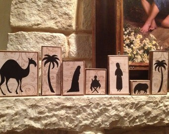 Nativity Decorative Handmade Christmas Blocks