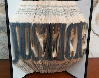 JUSTICE - Folded Book Art - Fully Customizable, Law, Judge