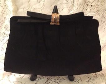 Vintage Black 50's 60's Satin Evening Bag by After Five