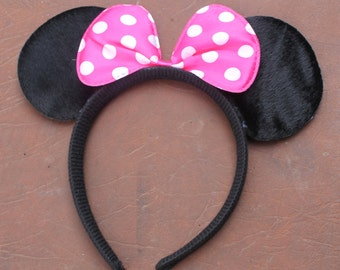 Pink and White Dotty Minnie Mouse Ears