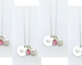 Bridesmaid Jewelry Set of 4  - Bridesmaid Gift - Bridesmaids Necklace -  Set of 4 -  Disc initial necklace with pearl and birthstone