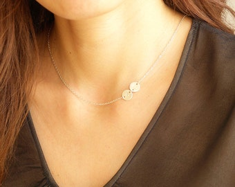 Personalized initial Mother's Necklace - Sideways Initial Necklace in Sterling Silver - Personalized Jewelry, Personalized Gift, Gifts.