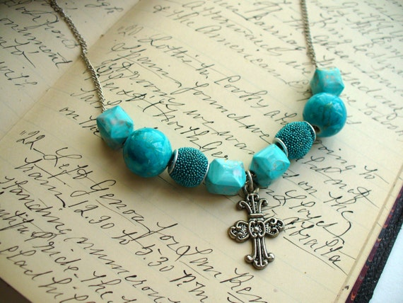 Antique Silver Cross Necklace, Turquoise Bead Necklace, Silver Necklace, Bead Necklace, Cross Necklace, One of A Kind Necklace, Affordable