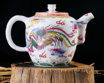 Ceramic Teapot For Tea, Chinese Tea Pot Porcelain, Gift Wedding Teapot With Hand Painted Dragon and Phoenix