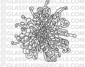 Chrysanthemum Bloom Glass Fusing Decal for Glass or Ceramics