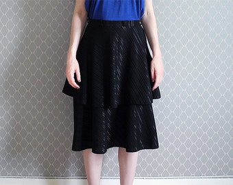 Black flowy shiny skirt double layers