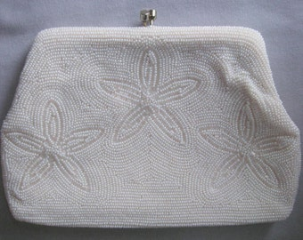 Vintage Le Regale Cream Beaded Clutch Purse Silk Lining Italian Beads Made in Japan 068