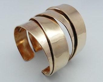 Double Fold Formed Copper Cuff Bracelet, Solid Copper Cuff Bracelet