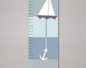 Sail Boat Growth Chart, Sailboat, Children's Art 10 X 30, Kids Room, Blue Nursery, Home Decor, Art Print, Baby, Gift, Present