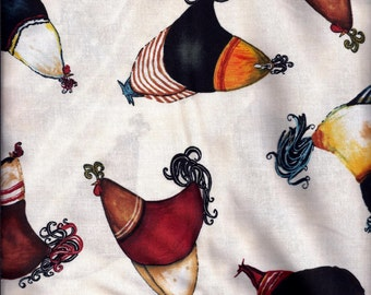 Fun Folk Art Roosters Curtain Valance