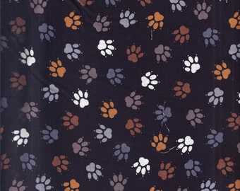 Cat Paws Black Tan Grey Curtain Valance