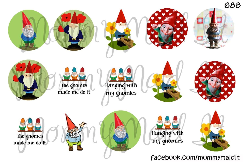 "Gnome In Garden: 4x6 Digital Bottle Cap Sheet 1"" One Inch Images"