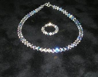 Swarovski Crystal Anklet & Toe Ring Set