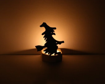 Halloween Candle Holder, Halloween Witch Candle Holder, Wooden Cutout Nightlight, Spooky Black Halloween Decor