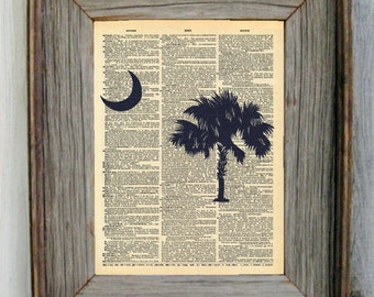 South Carolina Palmetto Tree Dictionary Art Print