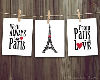 Classic Paris Set of 3 Wall Art Prints 8x10 inches We'll Always Have Paris - Casablanca, Eiffel Tower, From Paris With Love