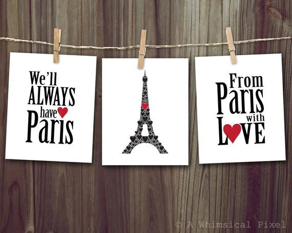 classic paris set of 3 wall art prints 8x10 inches we 39 ll. Black Bedroom Furniture Sets. Home Design Ideas