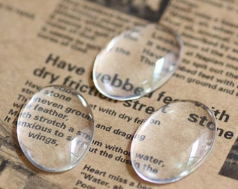10pcs 30x40mm Clear Glass Transparent Clear Oblate Cabochon Cameo Cover Cabs Findings M A