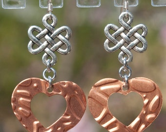 Copper heart celtic earrings