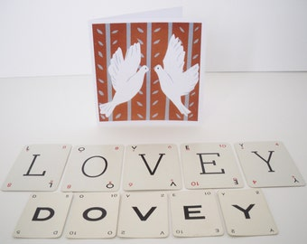 Screen printed greetings card. Two Doves (biscuit)