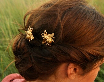 Bee Hair Pin Gold Bumble Bee Bobby Pins Brass Hair Pins Bee Hair Clips Gift For Her