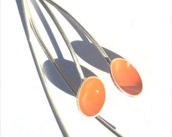 Orange Lotus Drop Earrings