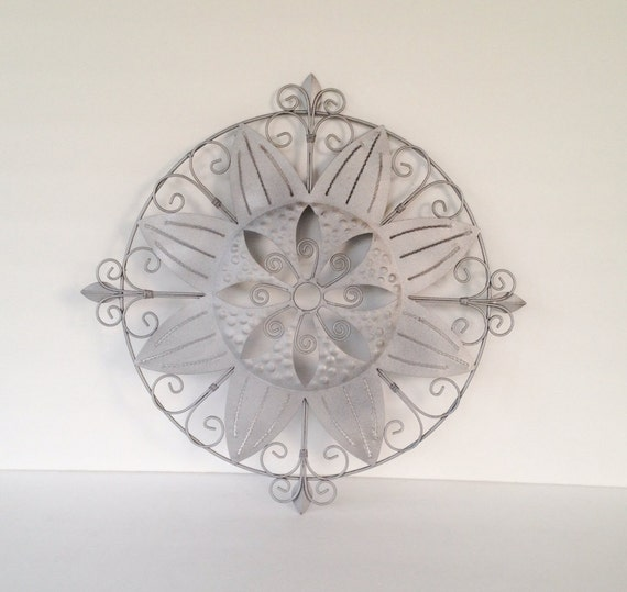 iron metal wall art silver metallic industrial medallion wall decor