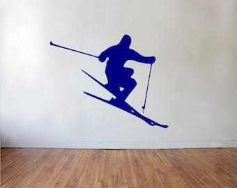 Ski Wall Decal - skiing wall decor, sports decal, kids room wall art, skiing wall decal, winter sports wall decal
