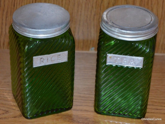 green glass kitchen canisters items similar to owens illinois canisters green glass 3987