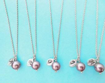 Set of 7, Personalized, Letter, Initial, Mauve, Swarovski, Pearl, Silver, Necklace, Sets, Wedding, Bridesmaid, Bride, Gift, Jewelry