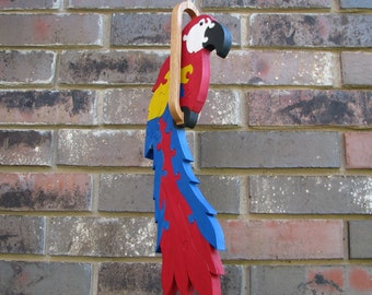 Macaw Parrot hanging bird puzzle Painted wood Macaw Parrot bird art home decor scroll saw art