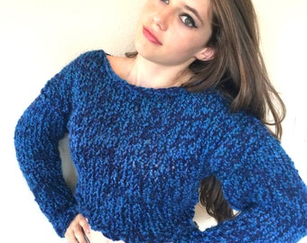 Easy Knitting Pattern for a Tight Fitting, Boat Neck, Chunky Sweater