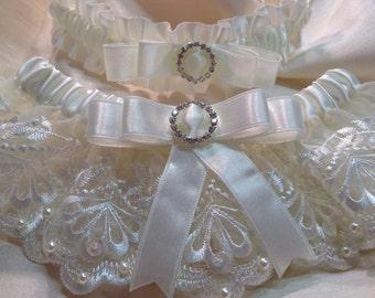 "Wedding Garter. The ""Amelie"" Cream Garter Set"