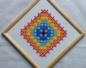 Patchwork Rainbow Starburst Cross Stitch Chart to work on 18 count Aida in rainbow colours of stranded cotton