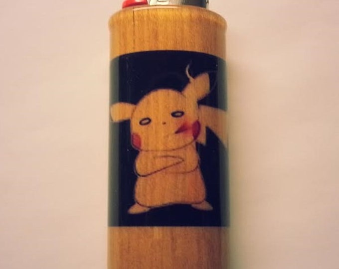 Smoking Pikachu Lighter Case, Weed, Marijuana, Ganja, Hemp, Lighter Holder, Lighter Sleeve