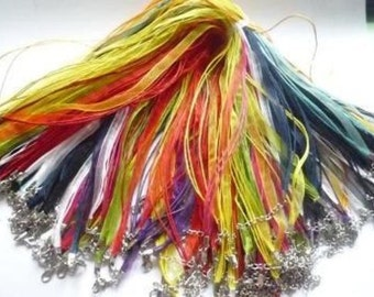 Neclaces Organza-Ribbon, many colours
