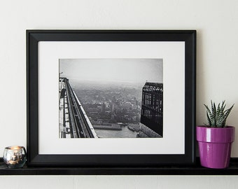 Vintage Black and White Photography Fine Art Print, Twin Towers Under Construction From The Top