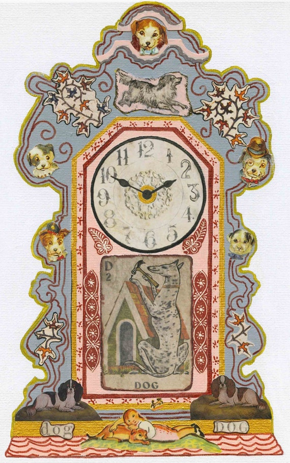 Vintage Mantel Clock Dog Collage Mixed Media by ...