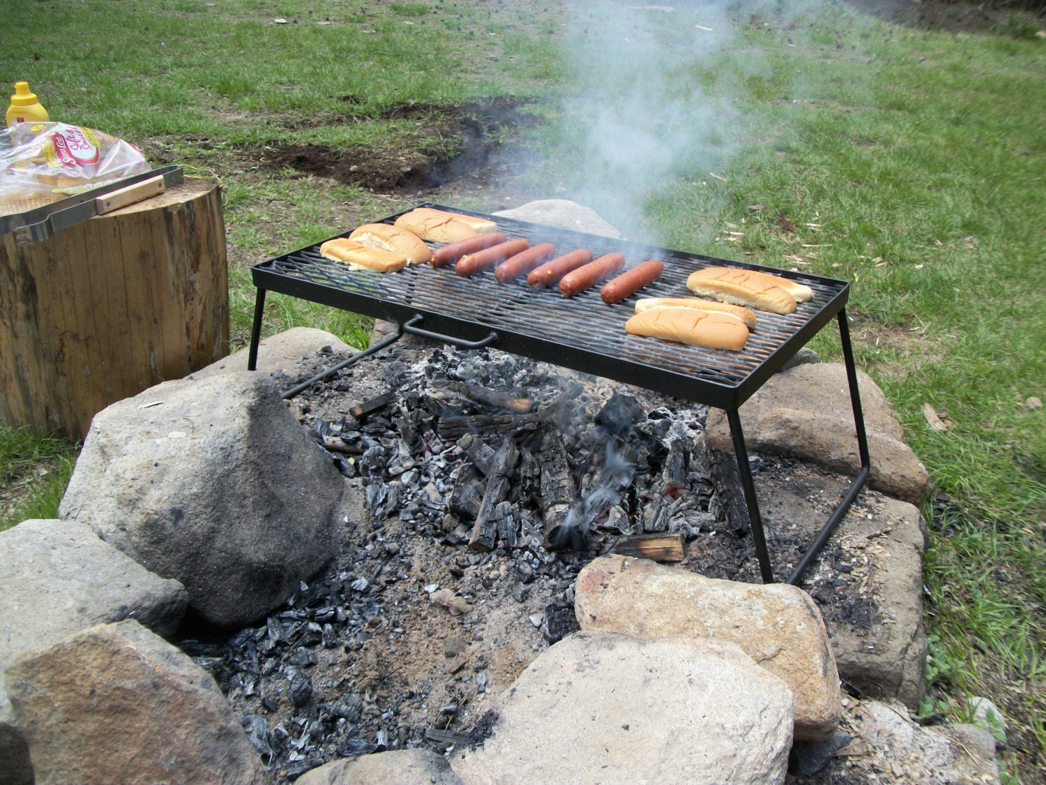 Heavy Duty Portable Folding Campfire Bbq Cooking Grill