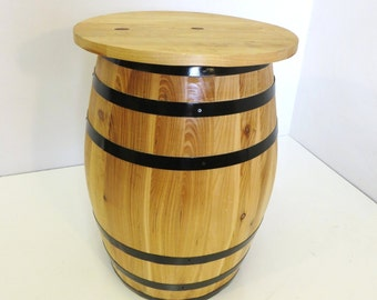 "Barrel side table, constructed with northern white cedar wood, 17""l x 17""w x 23""h, BPS-17"