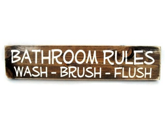 Bathroom Wall Art Rustic Wood Sign - Bathroom Rules Wash Brush Flush (#1183)