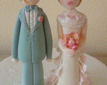 3D Fondant Bride and Groom Wedding Cake cake topper