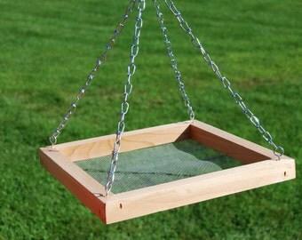 Fathers Day Gift Bird Feeder Seed Tray Cedar Hanging