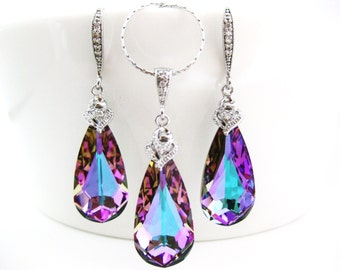 Vitrail Light Swarovski Crystal Teardrop Earrings & Necklace Gift Set Purple Earrings Pink Jewelry Wedding Jewelry Bridal Jewelry (NE007)