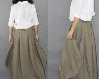 Womens Clothing Womens Skirt Casual Skirt Plus size Skirt Green Black Skirt Ankle Length Cotton Linen Casual Skirt(ZJR002)